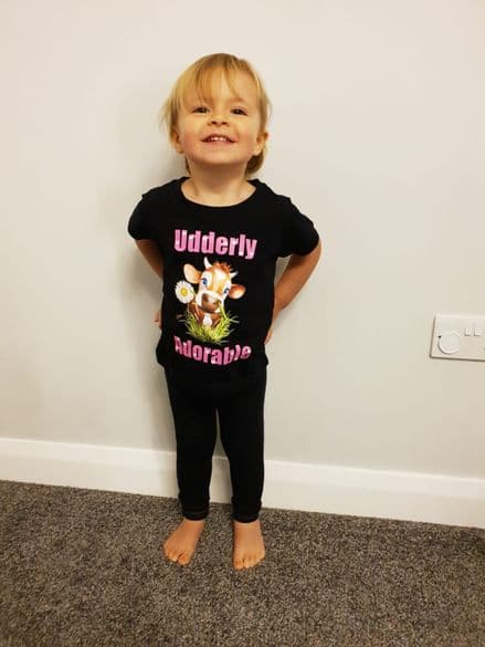 Childrens Printed T Shirt - Udderly Adorable Cow with Daisy