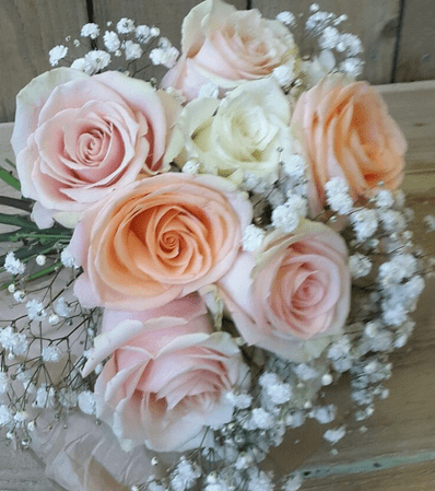 Bridesmaids Peachs and Cream Hand Tied Bouquet