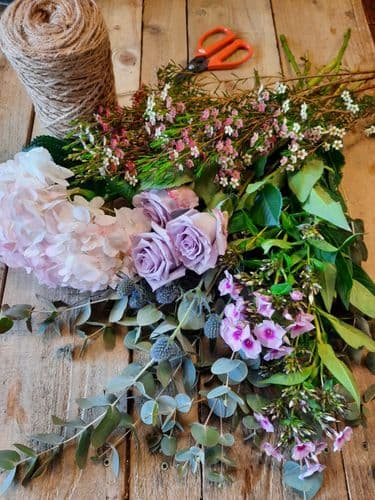 Click and Collect Florist choice hand tied bouquet £20 soft pastel mix