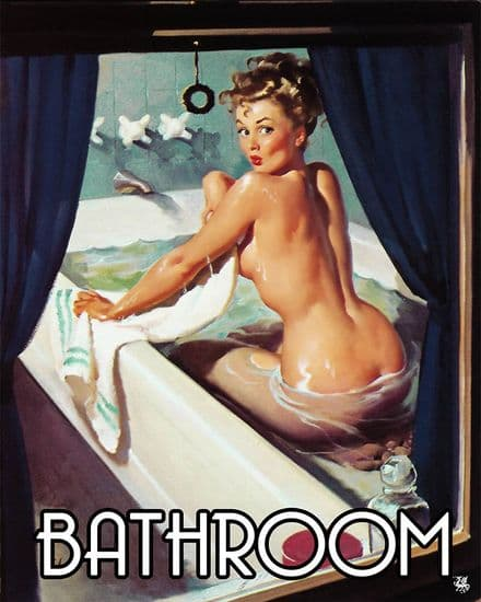 Bathroom Door Sign Personalised With Any Name / Text Pin Up Girl In Bath through window Metal Sign