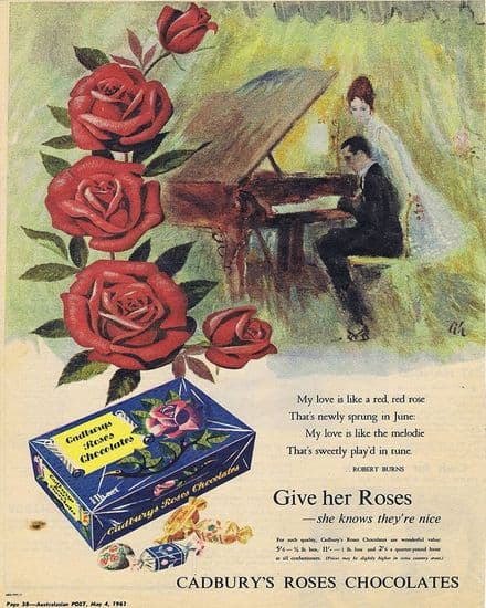 Cadbury's Roses Chocolates Give Her Roses - Metal Advertising Wall Sign