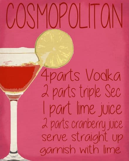 Cosmopolitan Cocktail Drink - Metal Humour Wall Sign