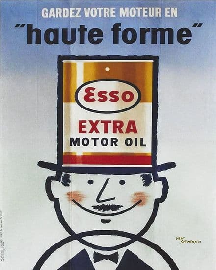 Esso Extra Motor Oil - Metal Advertising Wall Sign