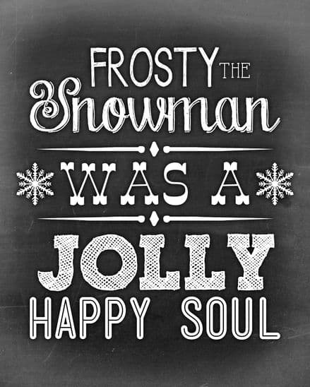 Frosty The Snowman - Metal Typography Wall Sign