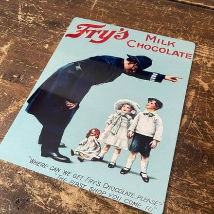 Frys Milk Chocolates Police - Metal Advertising Wall Sign
