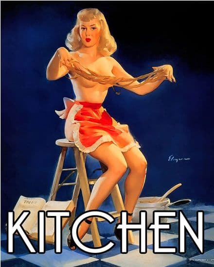 Kitchen Door Sign Personalised With Any Name / Text - Pin Up Girl In Kitchen - Metal Sign