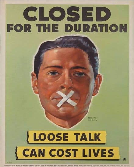 Loose Talk Can Cost Lives Closed For The Duration - Metal War Wall Sign