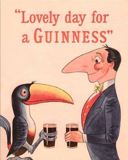 Lovely Day For A Guinness Toucans holding pint - Metal Advertising Wall Sign (1)