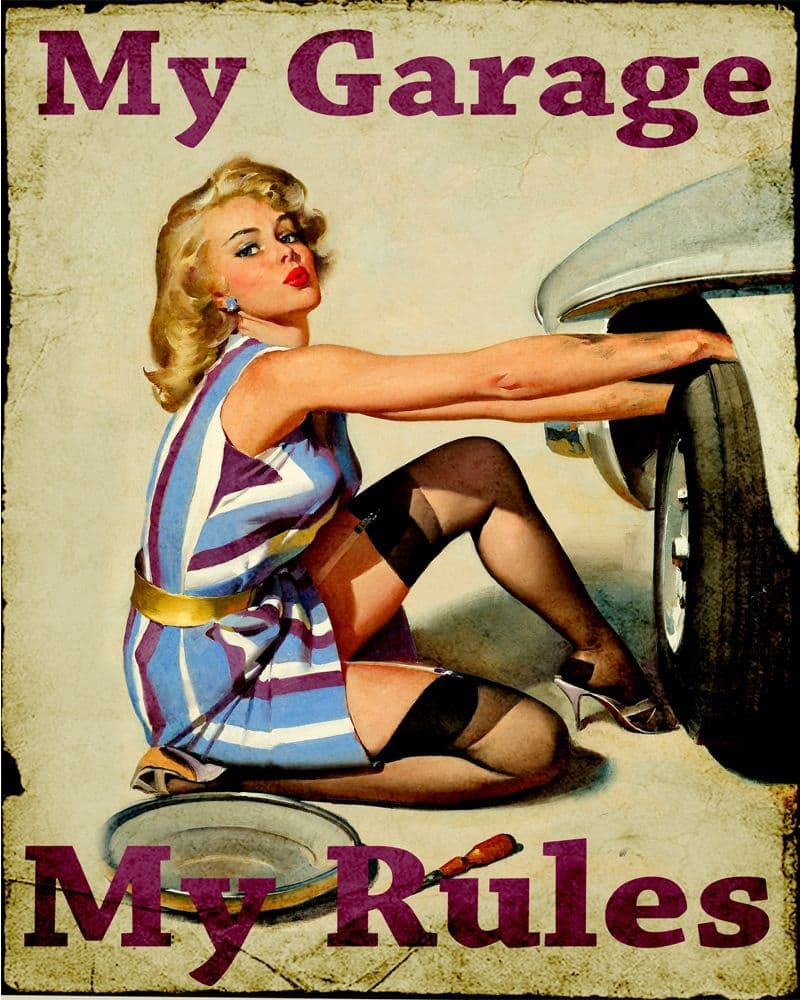 My Garage My Rules Pin Up Girl Car - Metal Personalised Art Wall Sign