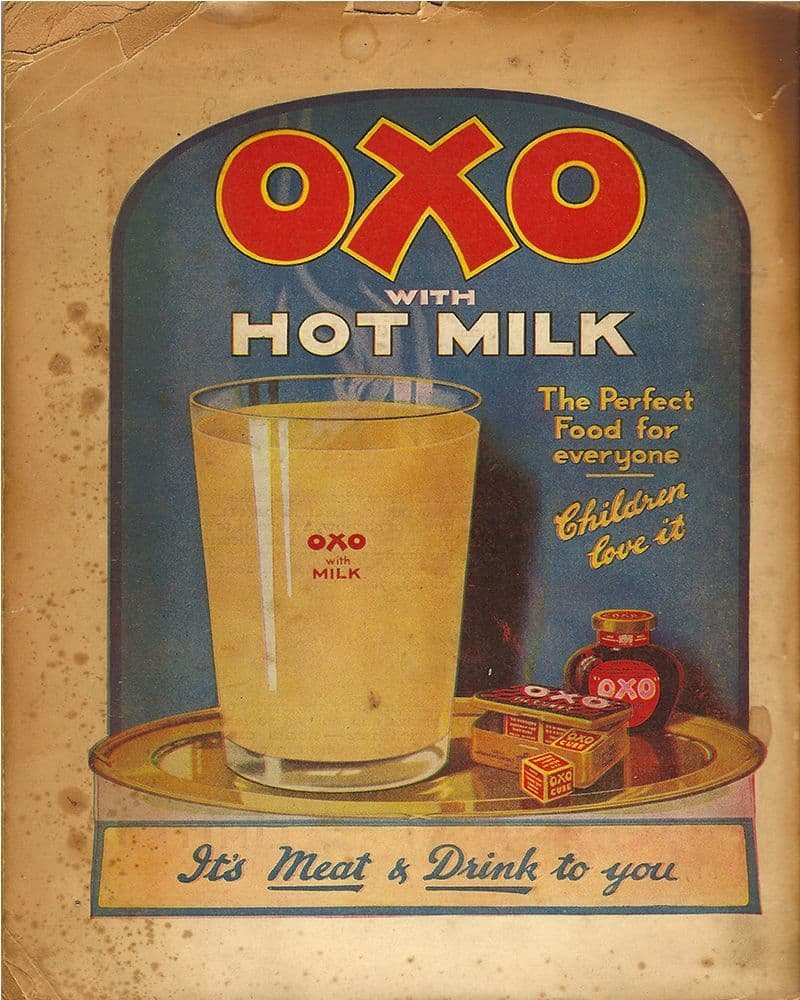 Oxo Cube with Hot Milk It's Meat & Drink to you - Metal Advertising Wall Sign
