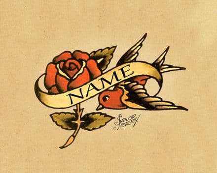 Personalised Sailor Jerry Swallow Custom - Metal Tatto Art Wall Sign