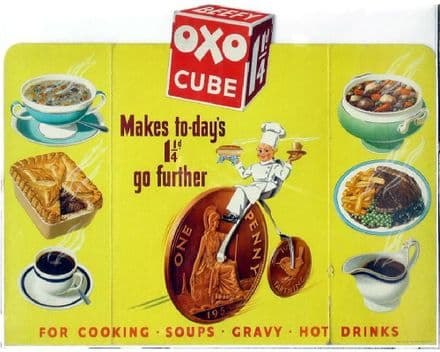 Oxo Cube For Cooking Soups Gravy and Hot Drinks  - Metal Advertising Wall Sign