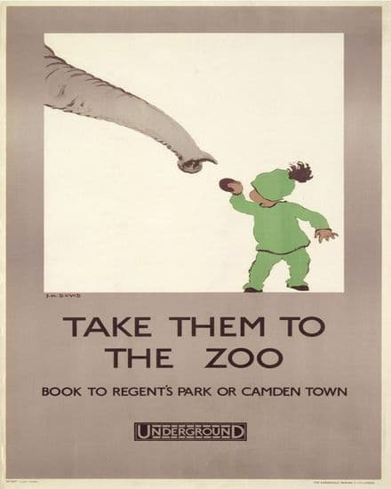 Take Them To the Zoo Underground - Metal Travel Wall Sign