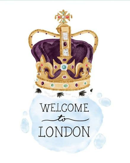 Welcome to London, Queens Crown - Metal Advertising Wall Sign