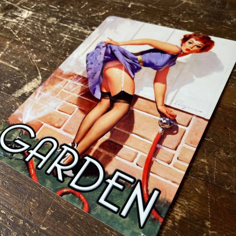 Garden Door Sign Personalised With Any Name / Text - Pin Up Girl In Bath- Metal Personalised Sign