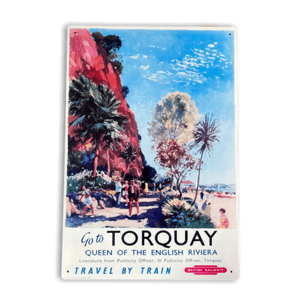 Go To Torquay Queen Of The English Riviera Britsish Railways - Metal Travel Wall Sign