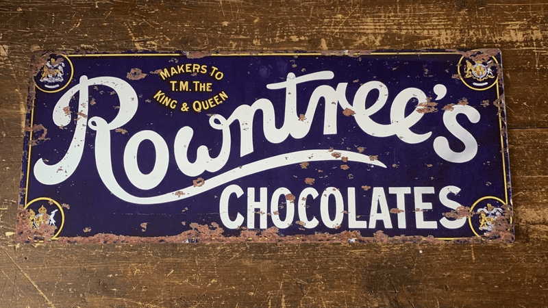 Rowntrees Chocolates Blue - Metal Advertising Wall Sign