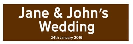 Wedding Brown Personalised Straight Direction - Metal Wall Sign
