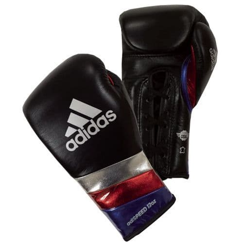 Adidas Adispeed Lace Boxing Gloves - Black/Silver/Blue/Red