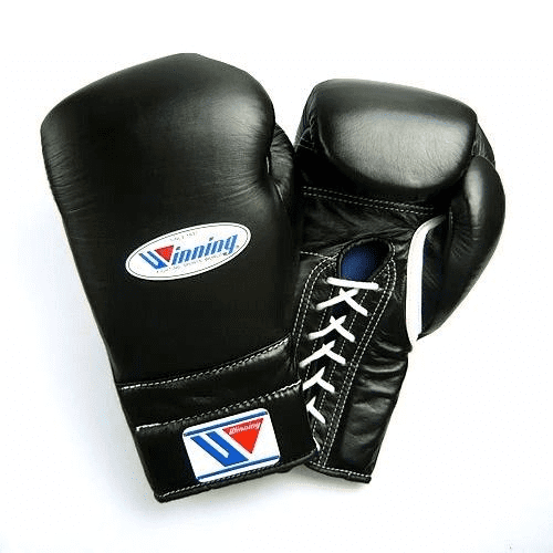 Winning MS Lace Up Sparring Gloves - Black (16oz)