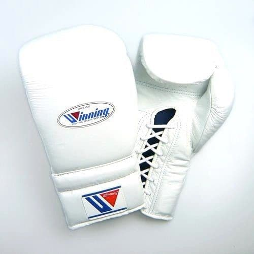 Winning MS Lace Up Sparring Gloves - White (12oz)