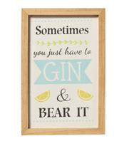 'GN AND BEAR T' WOOD FRAMED PLAQUE