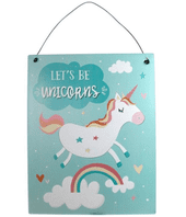 'Let's Be Unicorns' Charming Metal Hanging Plaque