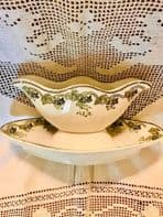ANTIQUE FRENCH PORCELAIN SAUCE BOAT AND SERVING DISH