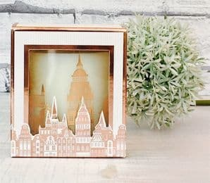 Charming Rose Gold Silhouette 'Vintage  Village'  Glass Jar Perfumed Candle