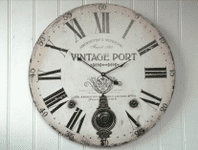 FRENCH LARGE 'VINTAGE PORT' WOODEN WALL CLOCK WITH METAL PENDULUM