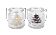 Pair Of Pine Cone Candles In Etched Glass Hanging Jar