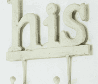Rustic Distressed Cast Iron 'His' Wall Hanger With 2 Hooks