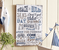 SEASIDE 'BEACH RULES' WOODEN WALL PLAQUE