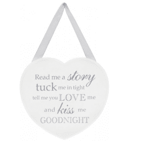 SHABBY CHIC WOODEN HEART PLAQUE 'READ ME A STORY'