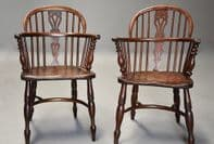 Stunning Matching Pair Of Early Victorian Yew Wood Low Back Windsor Chairs c1840