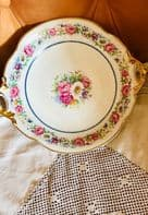 Vintage French Porcelain L. Bernardaud & Co Limoges Hand Painted Twin Handed Cake Dish