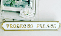 Vintage Themed Gilt Trimmed 'Prosecco Palace' Long Wooden Wall Plaque
