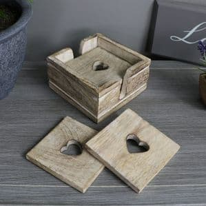 Wooden Hearts Coasters In Holder