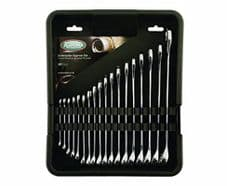 Kamasa - 18 Pc Polished Metric 6mm > 25mm Spanner Wrench Set In Tool Tray