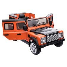 Kids Ride On ORANGE Land Rover Defender - 12v Working Led and MP3 Connectivity