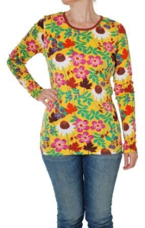 Duns Autumn Flowers Yellow Adult Long Sleeve Top