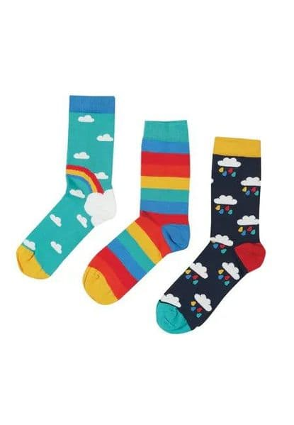 Frugi Aqua Rainbow Rock my Socks 3 pack