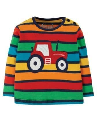 Frugi Bumble Rainbow Stripe Tractor Button Top