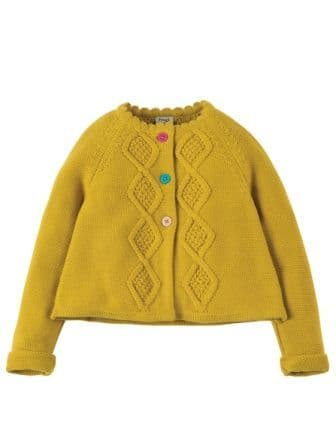 Frugi Carrie Cable Cardigan Gorse