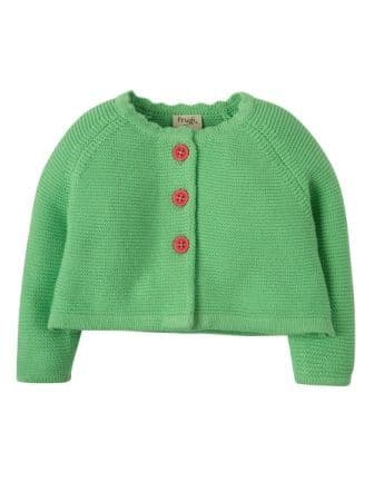 Frugi Carrie Knitted Cardigan Soft Green