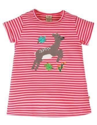 Frugi Deer Sophie Applique Top Watermelon Stripe