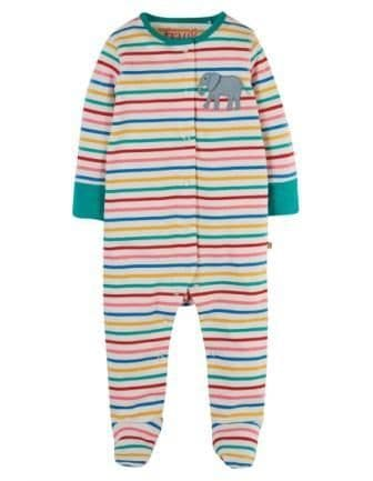 Frugi Elephant Lovely Applique Babygrow