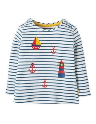 Frugi Everest Top Puffin Blue Breton Lighthouse