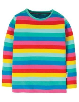 Frugi Everything Long Sleeve Tee Flamingo Multi stripe