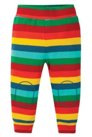 Frugi Favourite Cuffed Leggings Steely Blue Rainbow Stripe